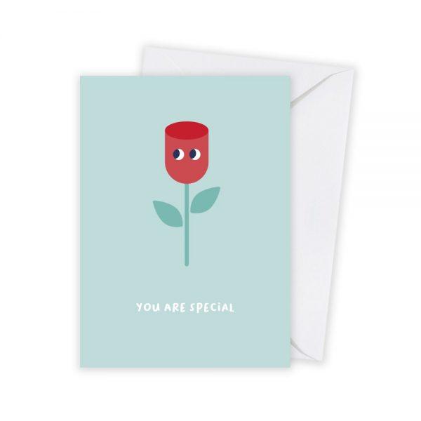 valentijn roos kaart illustratie - illustrator: steffanie le sage