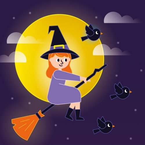 heks halloween illustratie - illustrator: steffanie le sage