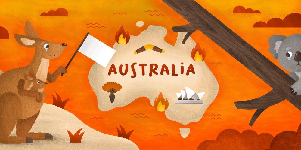 australis bosbranden illustratie - illustrator: steffanie le sage